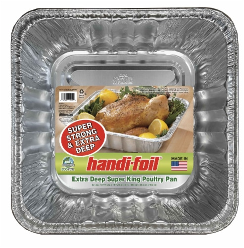 Handi-foil® Extra Deep Super King Poultry Pan - Silver Perspective: front