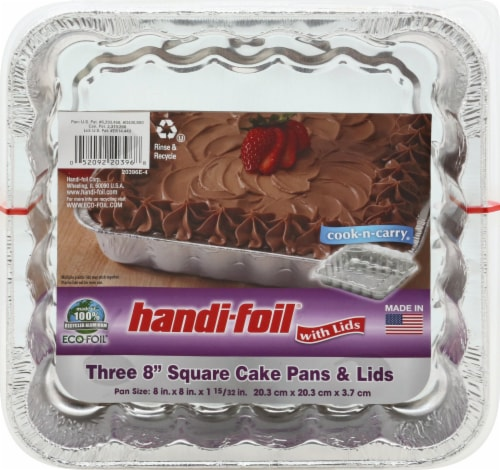 Handi-foil Eco-Foil Cook-n-Carry Square Cake Pans & Lids (2 Pack) Perspective: front