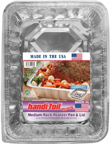 Handi-foil® Cook-n-Carry® Medium Rack Roaster Pan & Lid - Silver Perspective: front