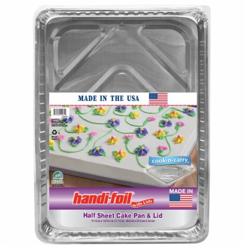 Handi-foil® Cook-n-Carry® Half Sheet Cake Pan and Lid - Silver Perspective: front