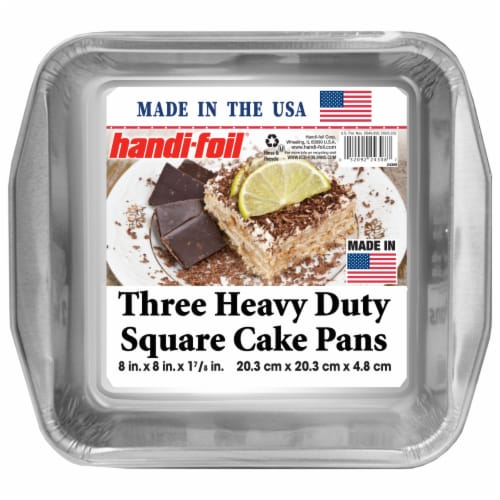 Handi-foil® Three Heavy Duty Square Cake Pans - 3 Pack - Silver Perspective: front