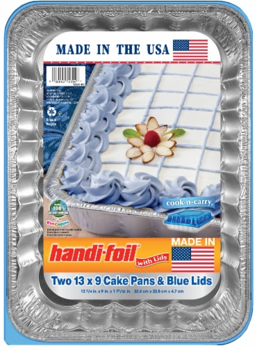 Handi-foil® Cook-n-Carry® Cake Pans and Lids - 2 Pack - Silver/Blue Perspective: front