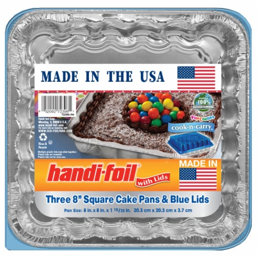 Handi-foil® Cook-n-Carry® Square Cake Pans and Lids - Silver/Blue Perspective: front