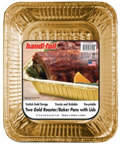 Handi-foil® Roaster Baker Pans and Lids - Gold Perspective: front