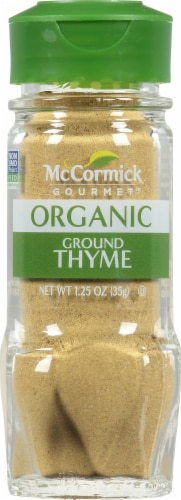 McCormick Gourmet Organic Ground Thyme Shaker Perspective: front