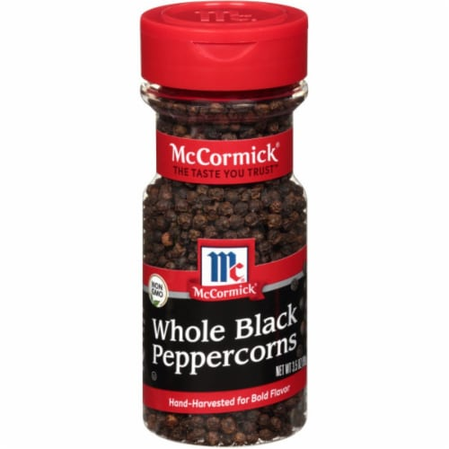 McCormick Whole Black Peppercorns Shaker Perspective: front