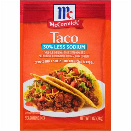 McCormick 30% Less Sodium Taco Seasoning Mix Perspective: front
