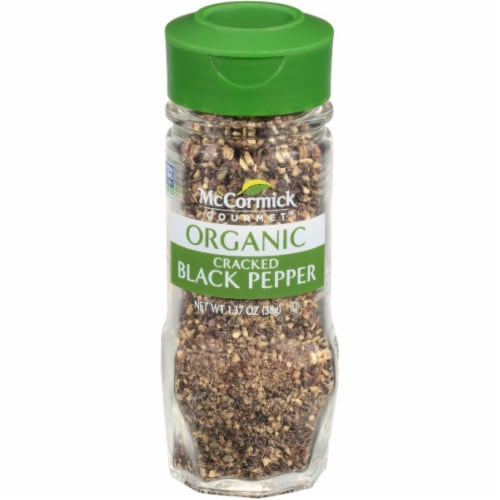 McCormick Gourmet Organic Cracked Black Pepper Perspective: front