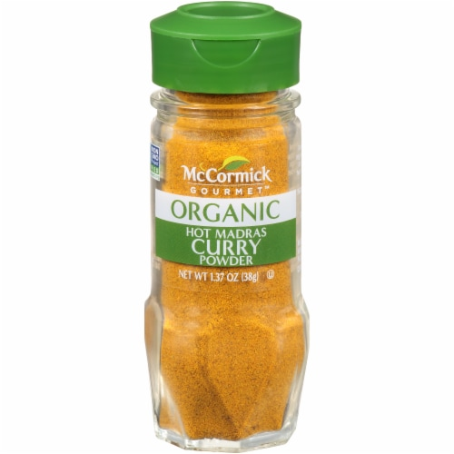 McCormick Gourmet Organic Hot Madras Curry Powder Shaker Perspective: front
