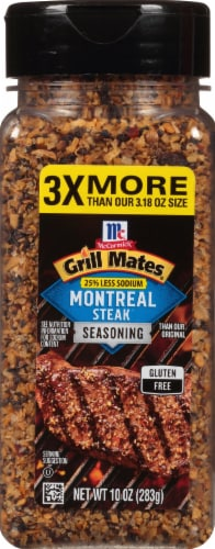 McCormick Grill Mates 25% Less Sodium Montreal Steak Seasoning Perspective: front