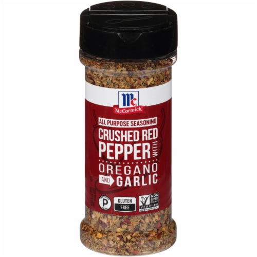 McCormick Red Crushed Pepper with Oregano and Garlic All Purpose Seasoning Shaker Perspective: front