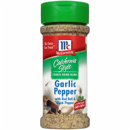 McCormick California Style Coarse Grind Blend Garlic Pepper Shaker Perspective: front