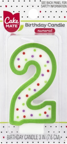 Cake Mate Birthday Candle Numeral 2 Perspective: front