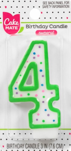 Cake Mate Numeral 4 Birthday Candle Perspective: front