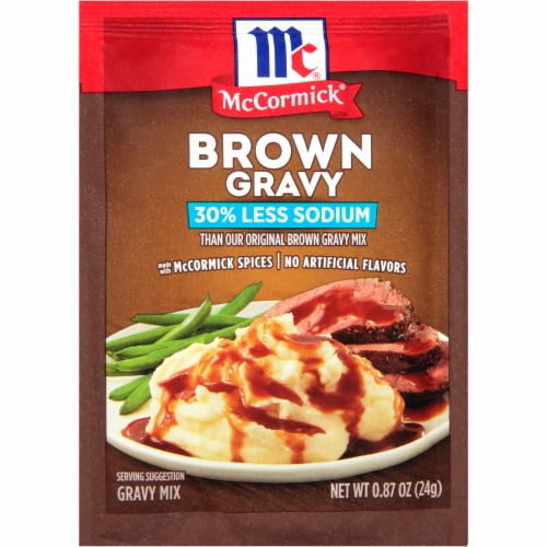 McCormick® Less Sodium Brown Gravy Mix Perspective: front