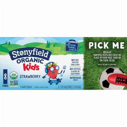 Stonyfield Organic Kids Strawberry Lowfat Yogurt Squeezers Perspective: front