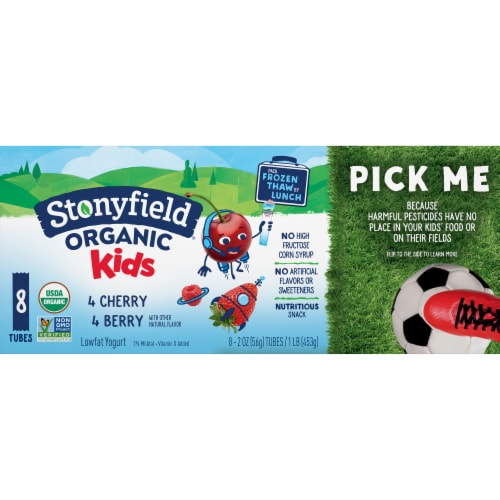 Stonyfield Organic Kids Berry & Cherry Lowfat Yogurt Squeezers Perspective: front