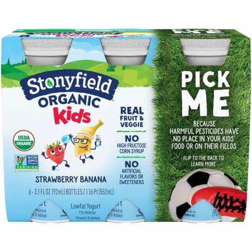Stonyfield Organic Kids Strawbana Yogurt Smoothie Perspective: front