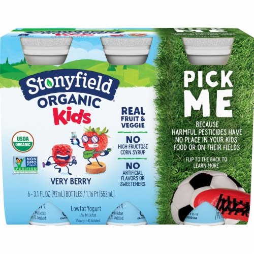 Stonyfield Yokids Very Berry Smoothie 6 Count Perspective: front