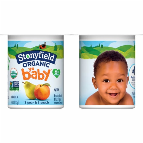 Stonyfield Organic YoBaby Peach & Pear Whole Milk Yogurt Perspective: front