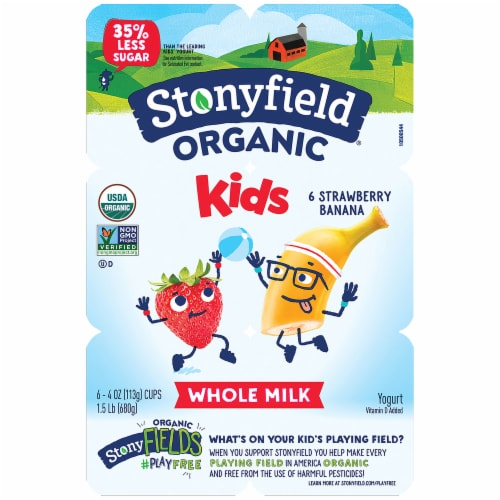 Stonyfield Organic Kids Whole Milk Strawberry Banana Yogurt 6 Count Perspective: front