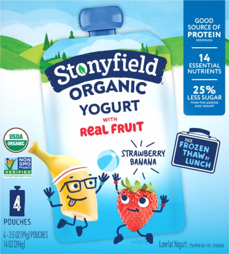 Stonyfield Organic Kids Lowfat Strawberry Banana Yogurt Pouches 4 Count Perspective: front