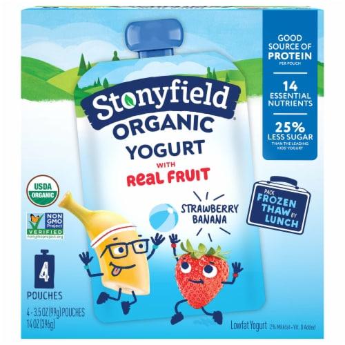 Stonyfield Organic Kids Lowfat Strawberry Banana Yogurt Pouches Perspective: front