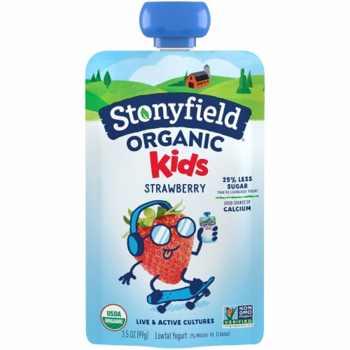 Stonyfield Organic Kids Strawberry Lowfat Yogurt Perspective: front