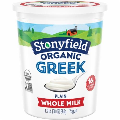 Stonyfield Organic Plain Whole Milk Greek Yogurt Perspective: front