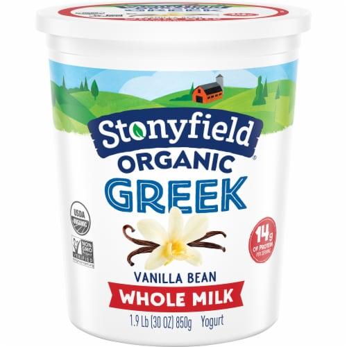 Stonyfield Organic Vanilla Bean Whole Milk Greek Yogurt Perspective: front
