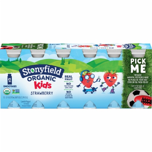 Stonyfield Organic Kids Strawberry Lowfat Yogurt Smoothies Drinks Perspective: front