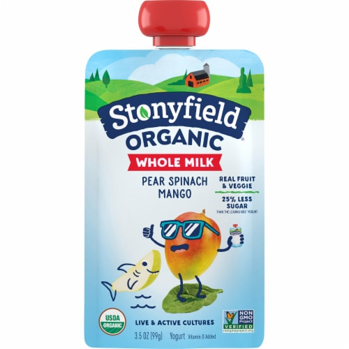 Stonyfield Organic Pear Spinach Mango Whole Milk Yogurt Perspective: front
