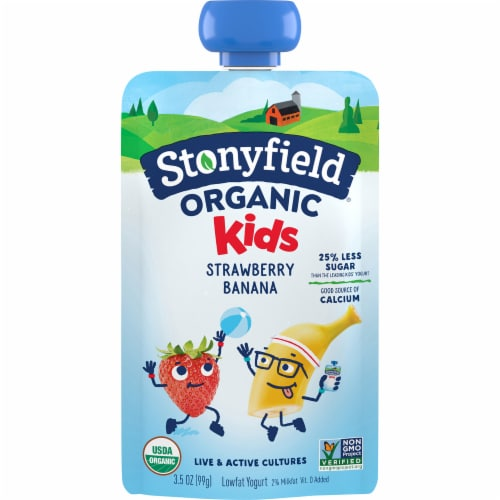 Stonyfield Organic Kids Strawberry Banana Lowfat Yogurt Perspective: front