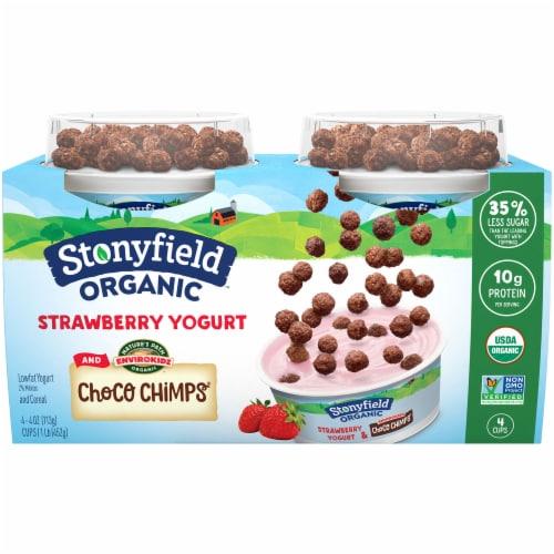 Stonyfield Organic Strawberry Yogurt and Choco Chips Low Fat Yogurt Perspective: front