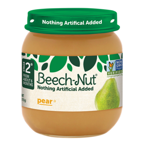Beech-Nut Pear Stage 2 Baby Food Perspective: front