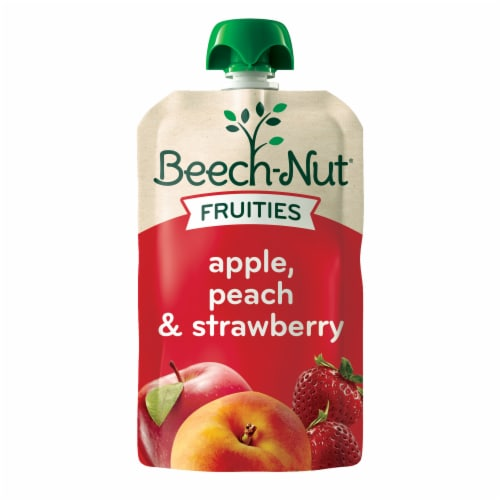Beech-Nut Fruities Apple Peach & Strawberry Puree Stage 2 Baby Food Perspective: front