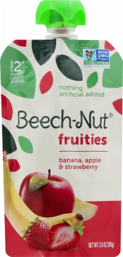 Beech-Nut Fruities Banana Apple & Strawberry Stage 2 Baby Food Pouch Perspective: front