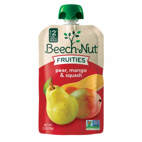 Beech-Nut Fruities Pear Mango & Squash Puree Stage 2 Baby Food Perspective: front