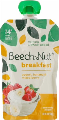 Beech-Nut Breakfast Yogurt Banana & Mixed Berry Blend Stage 4 Baby Food Perspective: front