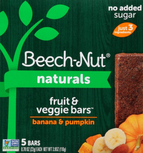 Beech-Nut Naturals Banana & Pumpkin Fruit & Veggie Bars Perspective: front