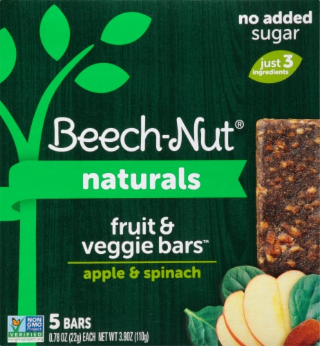 Beech-Nut Apple & Spinach Fruit & Veggie Bars Perspective: front