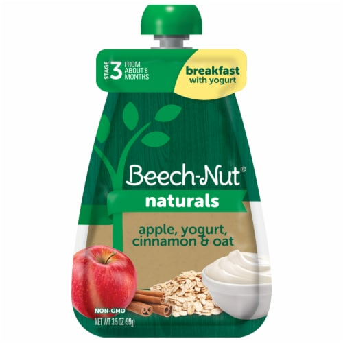 Beech-Nut Naturals Stage 3 Apple Yogurt Cinnamon Oat Baby Food Pouch Perspective: front
