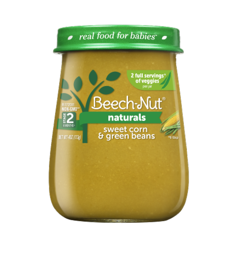 Beech-Nut Naturals Sweet Corn & Green Beans Stage 2 Baby Food Perspective: front