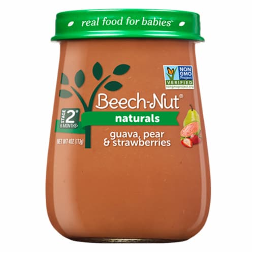 Beech-Nut Naturals Stage 2 Guava Pear & Strawberries Baby Food Jar Perspective: front