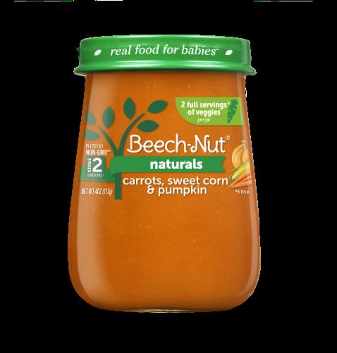 Beech-Nut® Naturals Stage 2 Carrots Sweet Corn & Pumpkin Baby Food Perspective: front