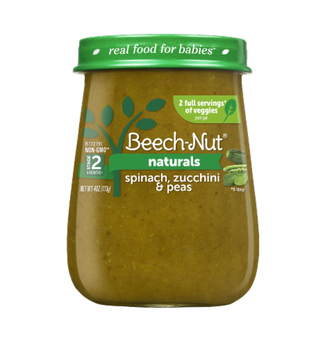 Beech-Nut Naturals Stage 2 Spinach Zucchini & Peas Baby Food Jar Perspective: front