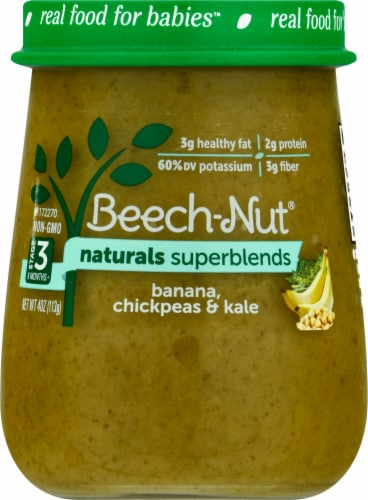 Beech-Nut® Naturals Superblends Stage 3 Banana Chickpea & Kale Baby Food Perspective: front