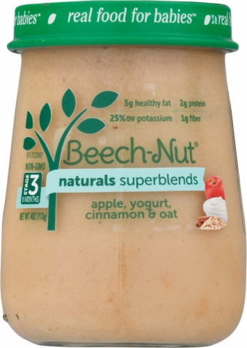 Beech-Nut Naturals Superblends Apple Cinnamon Yogurt & Oat Stage 3 Baby Food Perspective: front