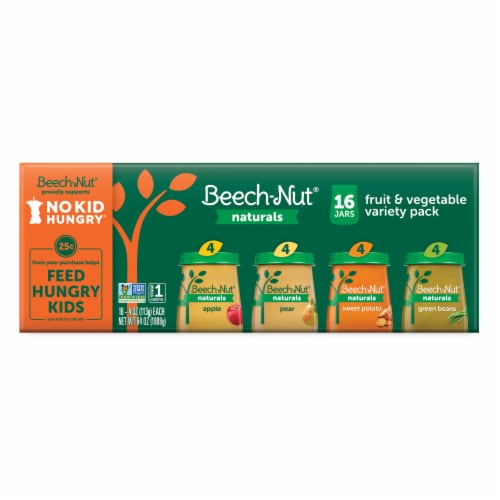 Beech-Nut Naturals Stage 1 Baby Food Fruit & Vegetable Variety Pack Perspective: front