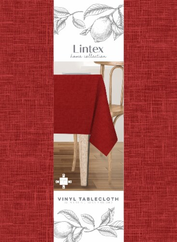 Lintex Maison Round Vinyl Tablecloth - Red Perspective: front